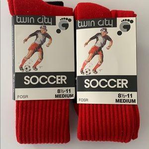 2 Pack Twin City Men's Soccer Socks Red/Black